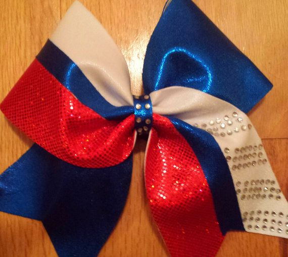 Keychain White Bow Cheer Red And