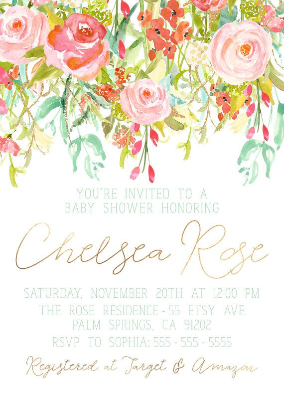 girl baby shower invitation, unique, boho, flower, watercolor, Baby shower invitations