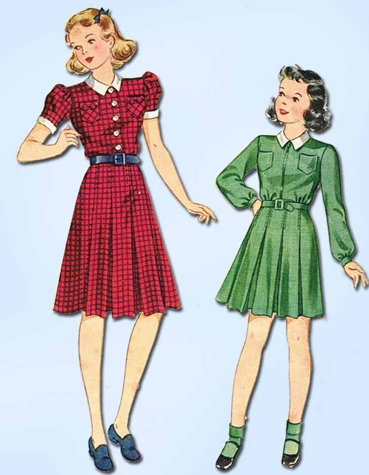 1940s Vintage Simplicity Sewing Pattern 3477 Girls WWII Shirtwaist ...