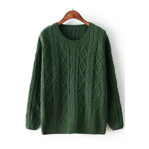 SheIn(sheinside) Green Diamond Patterned Cable Knit Sweater ($25) ❤ liked on Polyvore featuring tops, sweaters, green, cable knit sweater, cable sweater, long sleeve pullover sweater, loose pullover sweater and green sweater