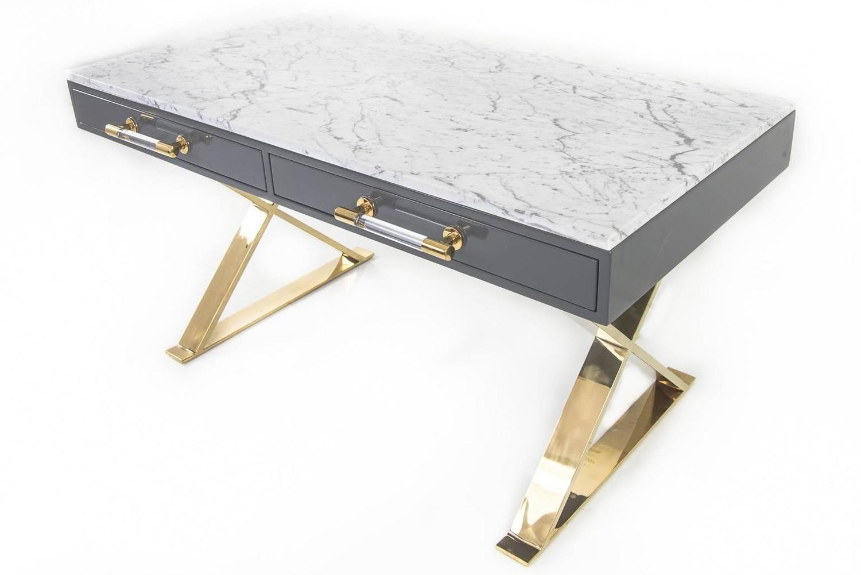 modern desk with marble top furniture pinterest desk modern rh pinterest com