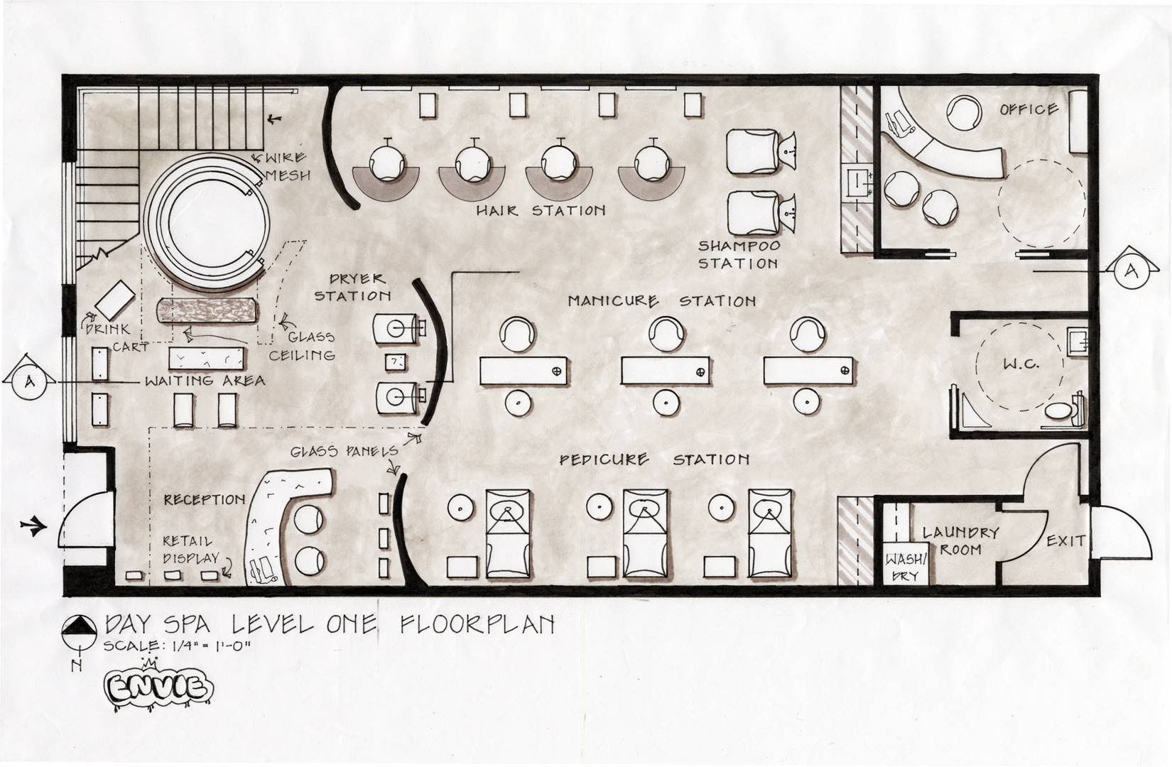Day spa architectural design day spa salon design and for Sauna layouts floor plans