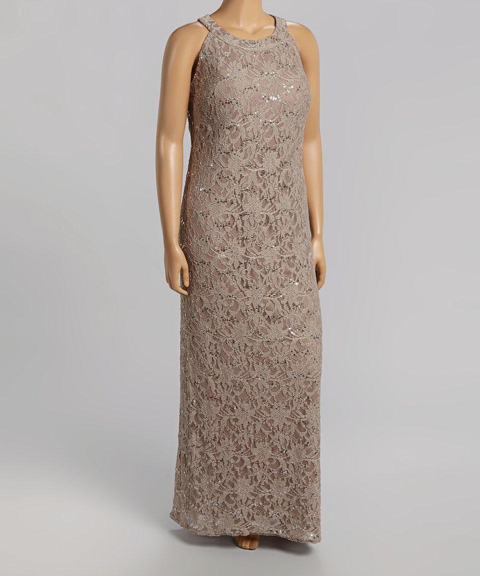 9e1361bc3af R M Richards Mocha Lace Yoke Gown - Plus