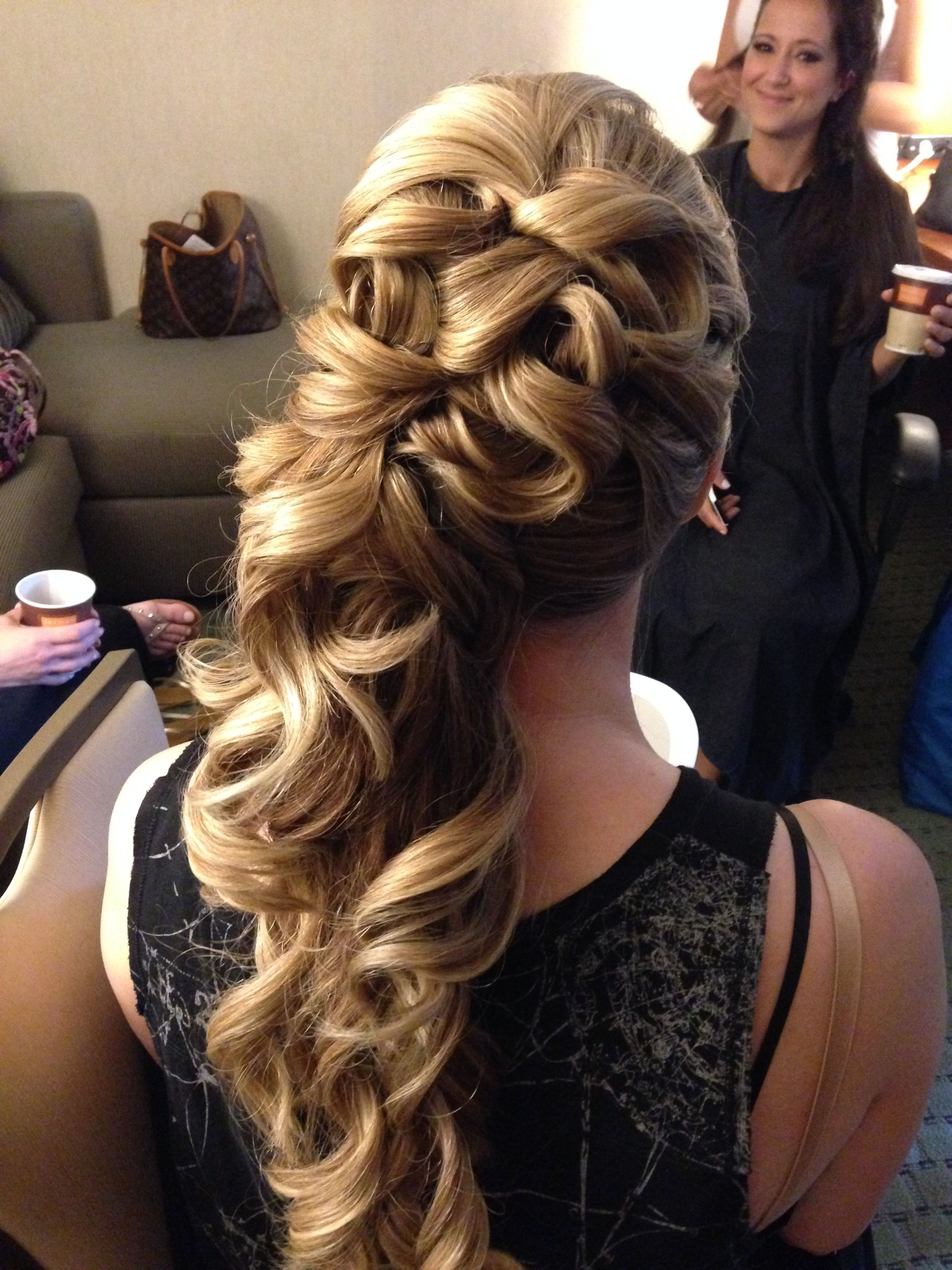 All up thick hair side pony tail blonde wedding hair by Jo @ jostyles479@aol.com