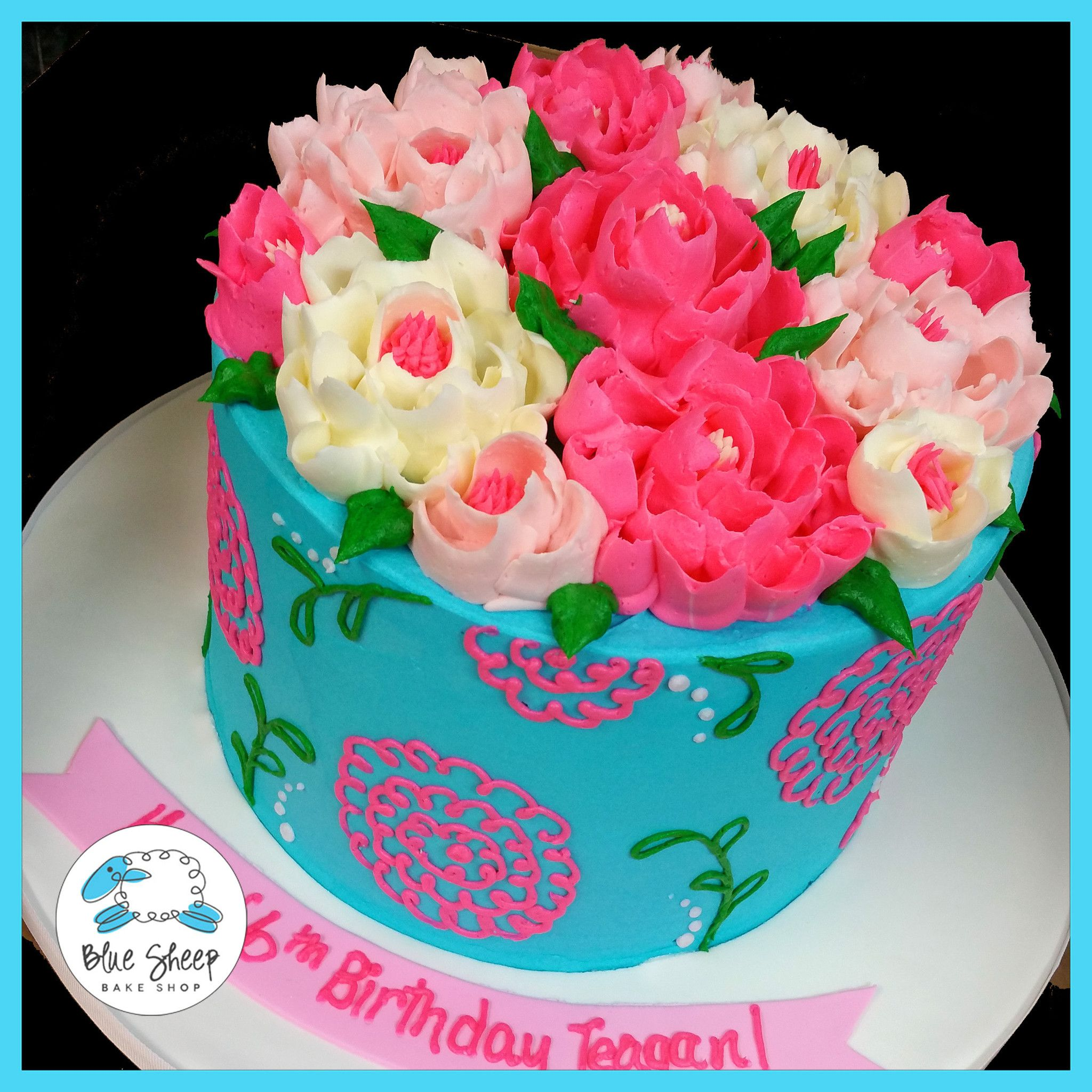 Ribbon Flower Buttercream Birthday Cake Blue Sheep Bake Shop