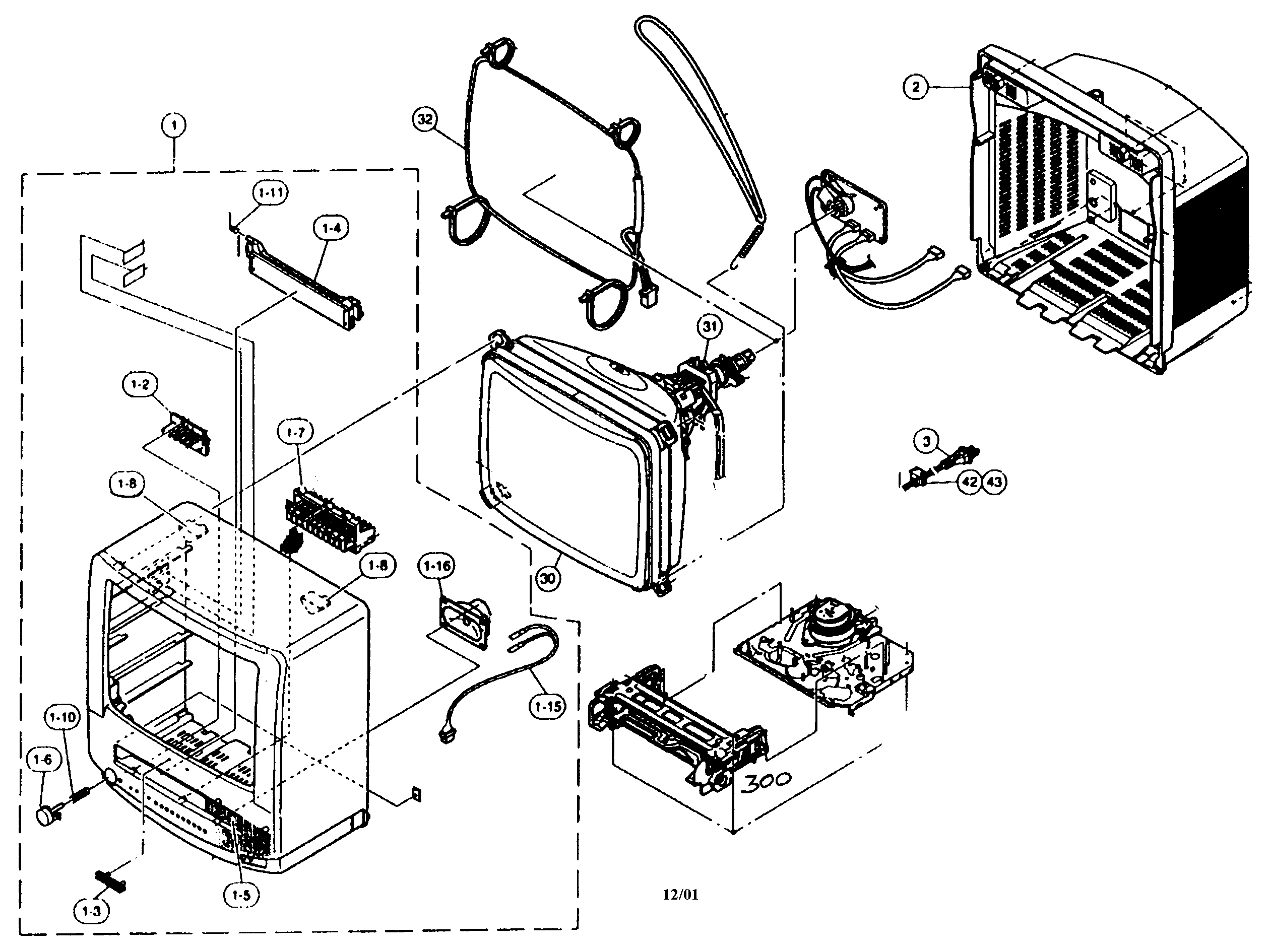 Cabinet Parts Diagram  U0026 Parts List For Model 13vtr100 Sharp