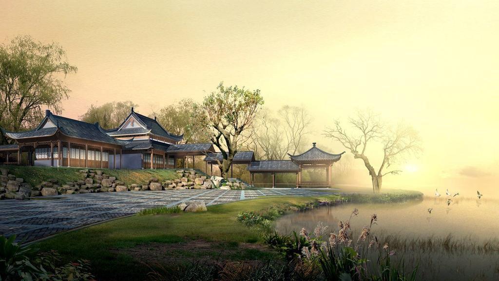 Modern Houses Lake China Nature Photoshop Trees Wallpaper For Japan Landscape Japanese Landscape Landscape Wallpaper