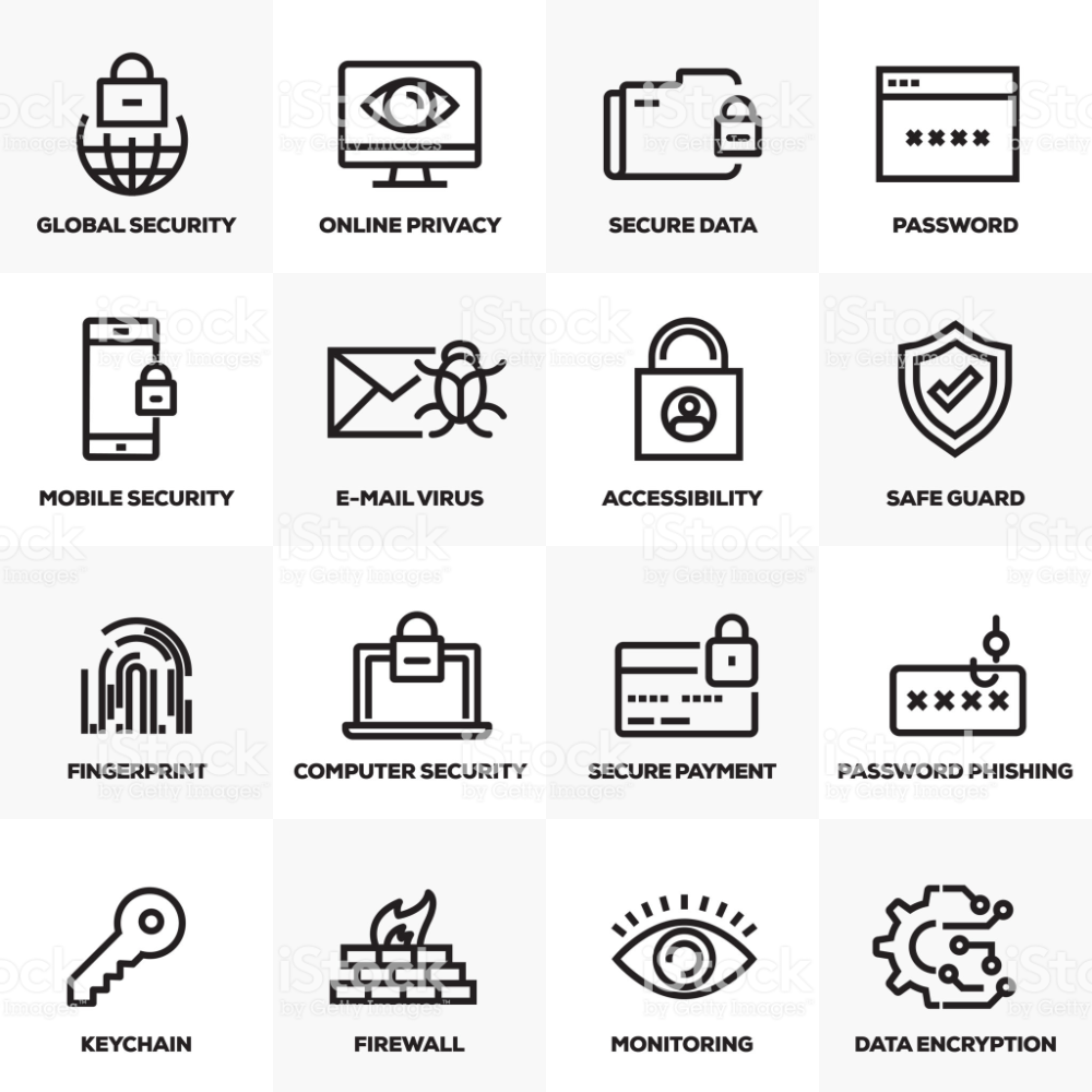 CYBER SECURITY LINE ICONS SET Royaltyfree Icon stock