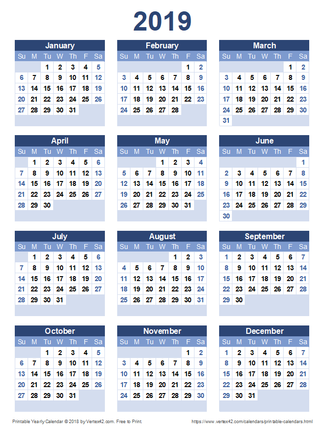 Iranian Calendar 2020 Download a free Printable 2019 Yearly Calendar from Vertex42.