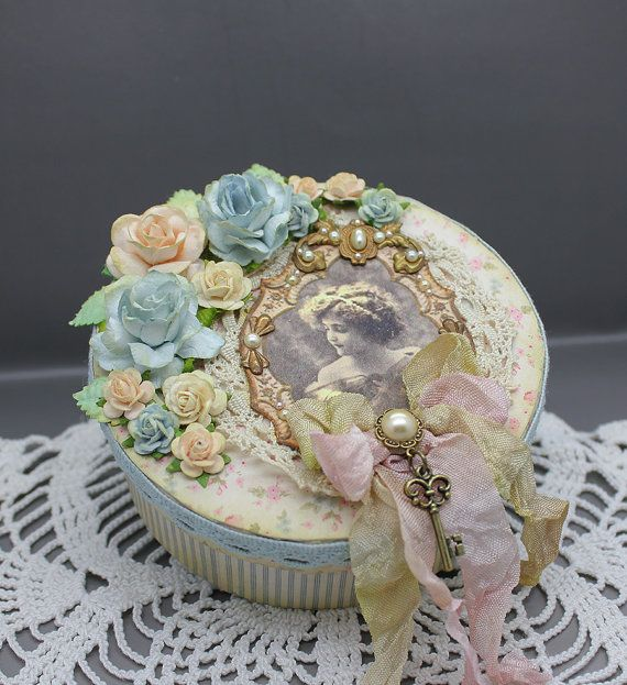 Handmade vintage style gift or keepsake box ,Shabby chic  in pale pink and blue