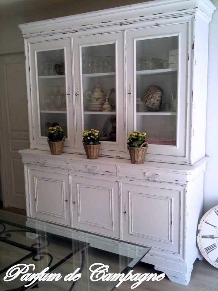 Vaisselier Double Corps Blanc Patine Style Louis Philippe