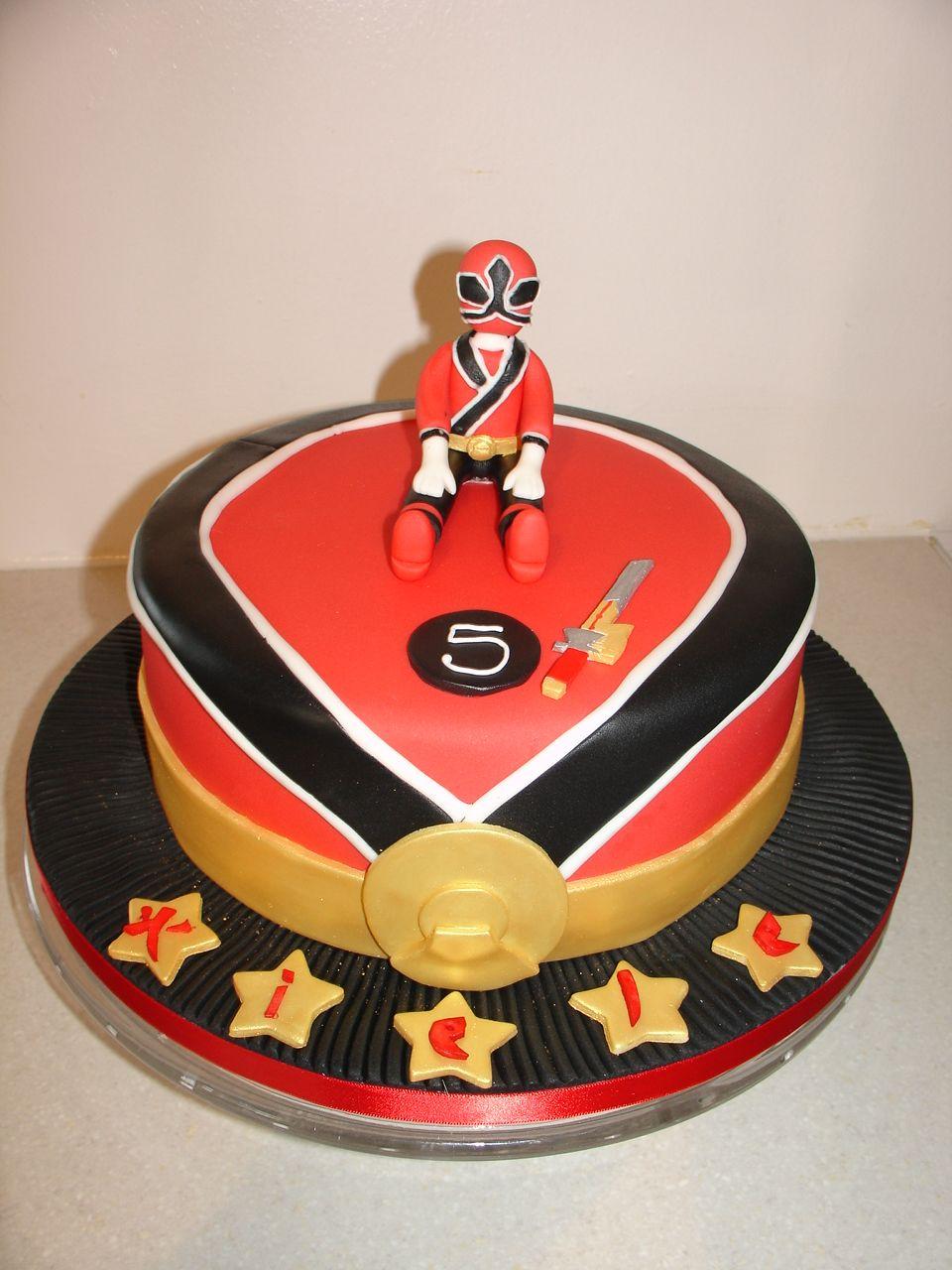 Power rangers red samurai fondant cake power ranger
