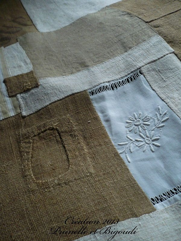 tissu ancien et toile de jute sewing pinterest linens patchwork and fabrics. Black Bedroom Furniture Sets. Home Design Ideas