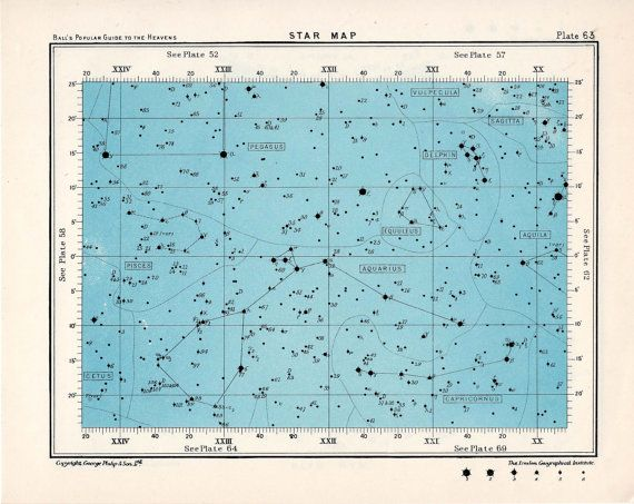 Star Map  Constellations Original By Antiqueprintstore