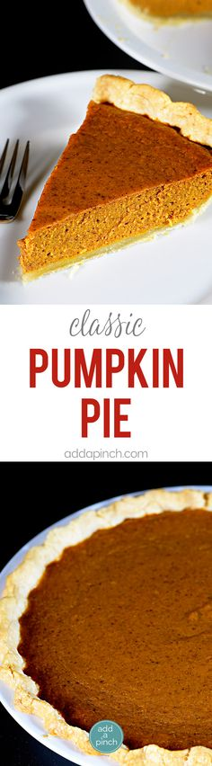 Classic Pumpkin Pie Recipe - This classic pumpkin pie recipe makes an old fashioned pie perfect for serving during the holidays or anytime! So easy and delicious, this is a family-favorite pumpkin pie! // addapinch.com