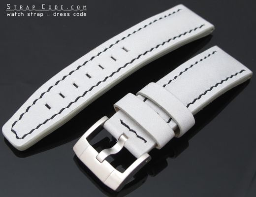 22mm Light Grey Soft Touch Calf Pilot Watch Strap Black St. in Breitling Style