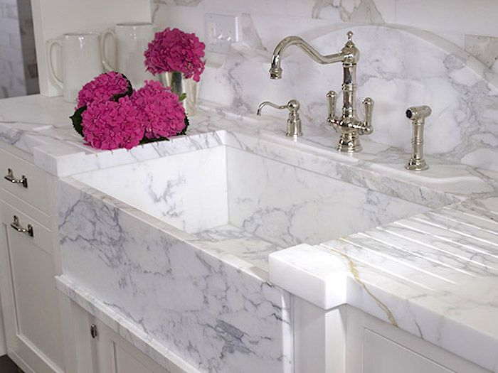 48 Marble Kitchens That Are Beyond Gorgeous Kitchen Marble White Marble Sink Honed Marble