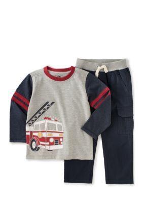 Kids Headquarters  2-Piece Firetruck Shirt and Pant Set