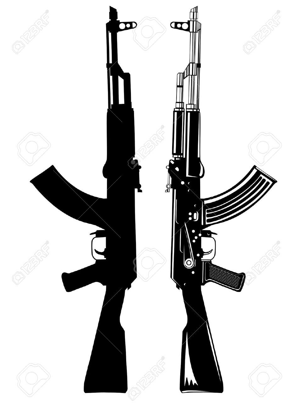 12889382 Image Of The Automatic Machine AK 47 Stock Vector Gun Tattoo 931x1300