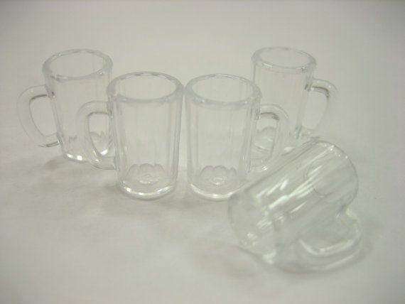 Dollhouse Miniatures 5 Beer Cup Plastic Beverage by WowMiniature