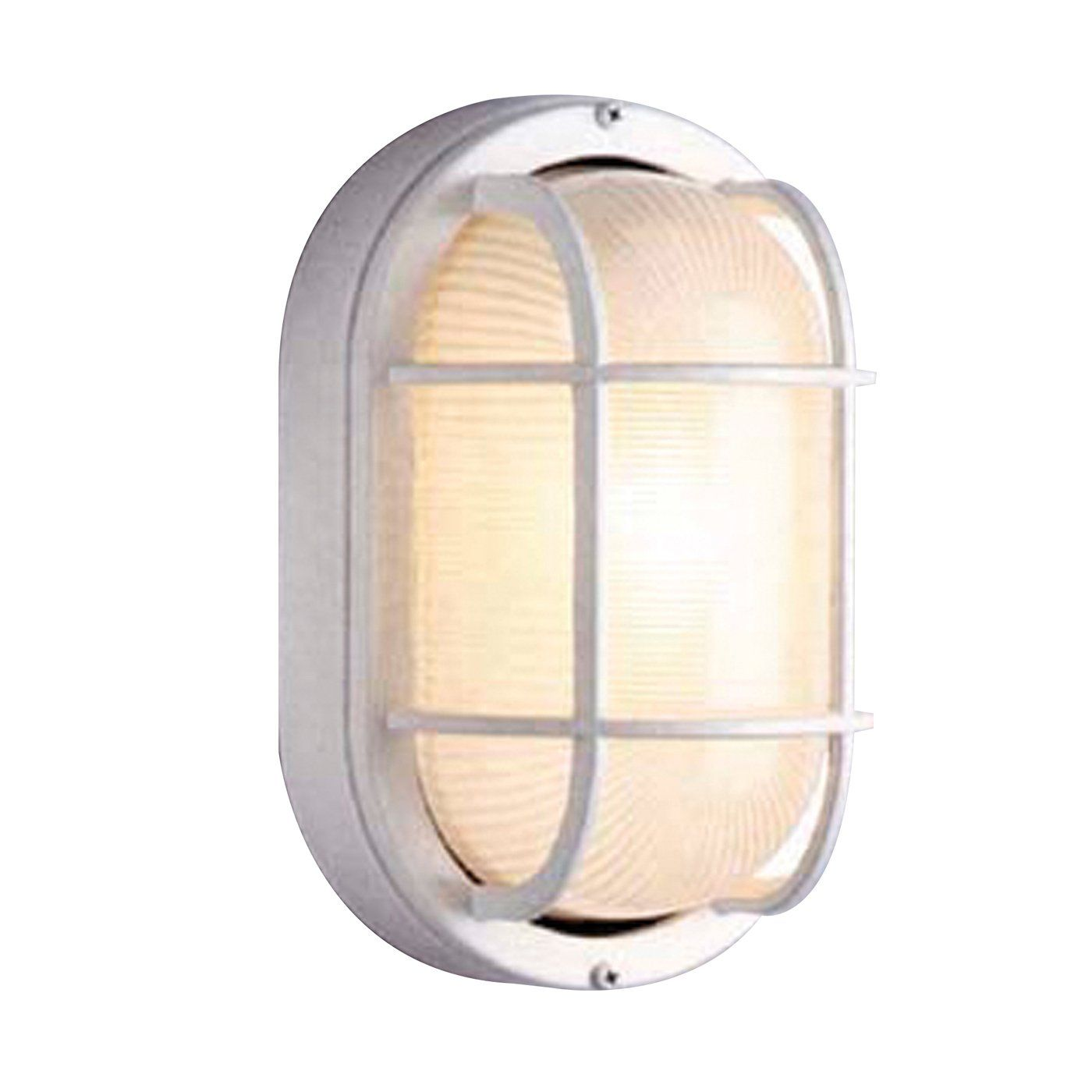 All Fit Tr41005 Wht Oval Deck Outdoor Sconce White 21 92 Outdoor Light Fixtures Bulkhead Light Trans Globe Lighting