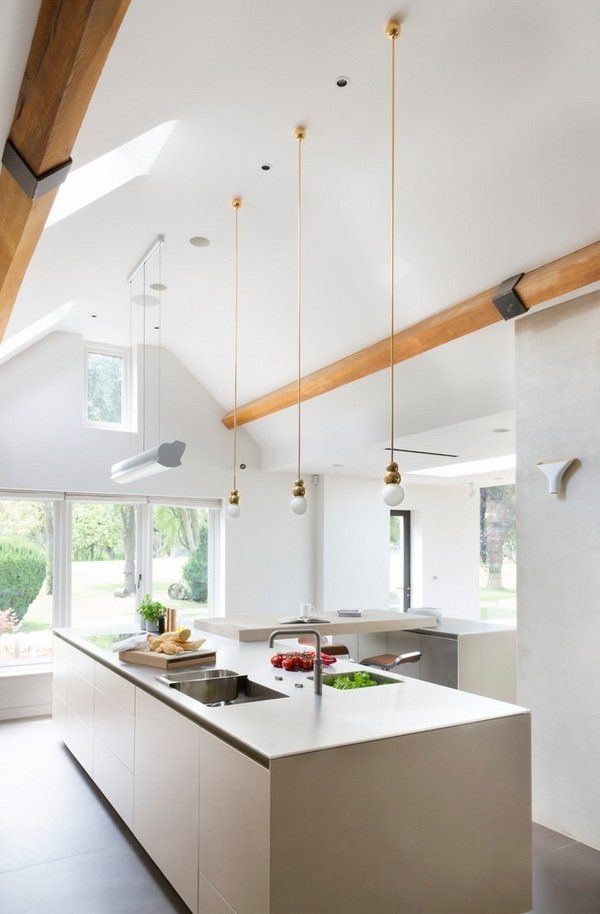 Vaulted Ceiling Lighting Ideas Skylights Mini Pendant Lights Contemporary Whi
