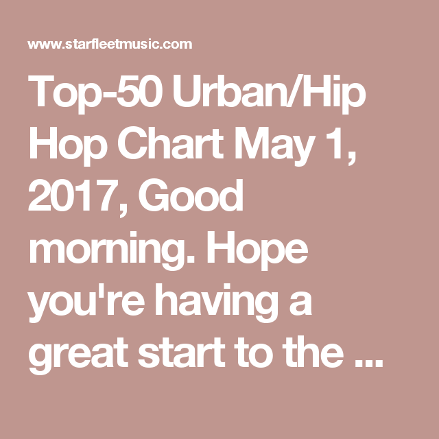 Top-50 Urban/Hip Hop Chart May 1, 2017, Good morning  Hope you're