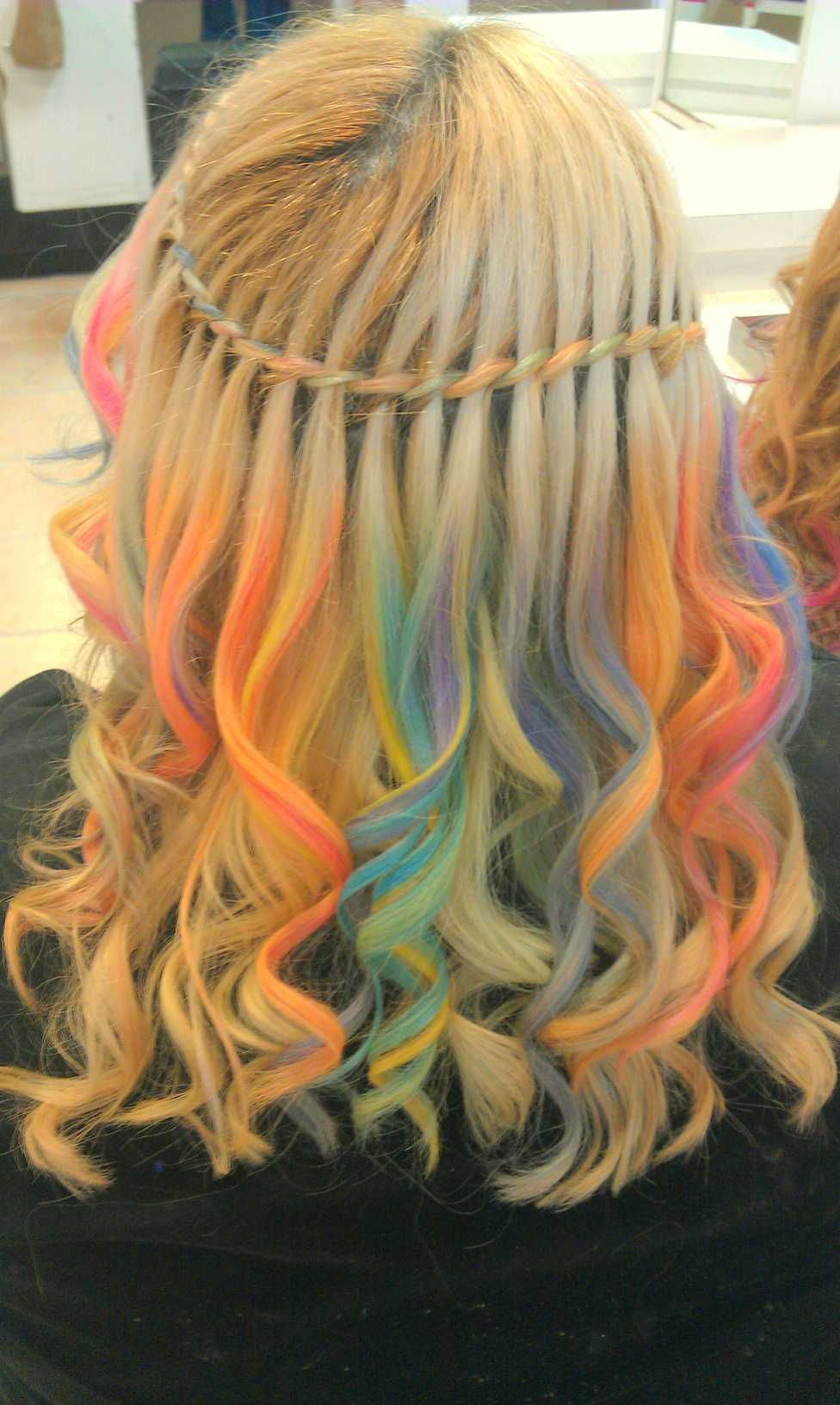 Rainbow Chalking Twisted Waterfall Braid Hair Chalk Hair Styles Waterfall Braid
