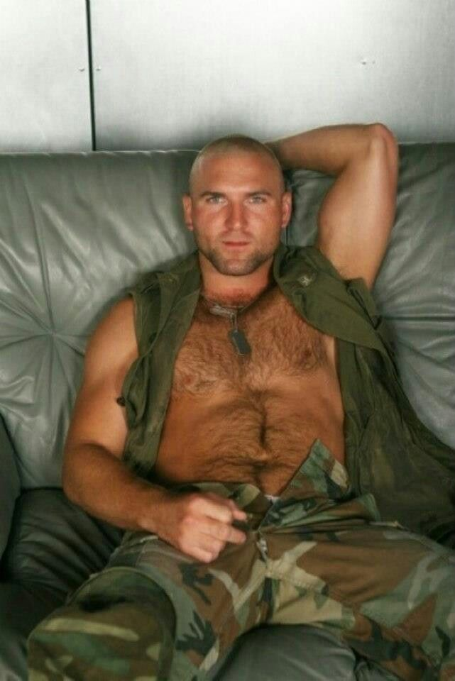 chested army men Hairy