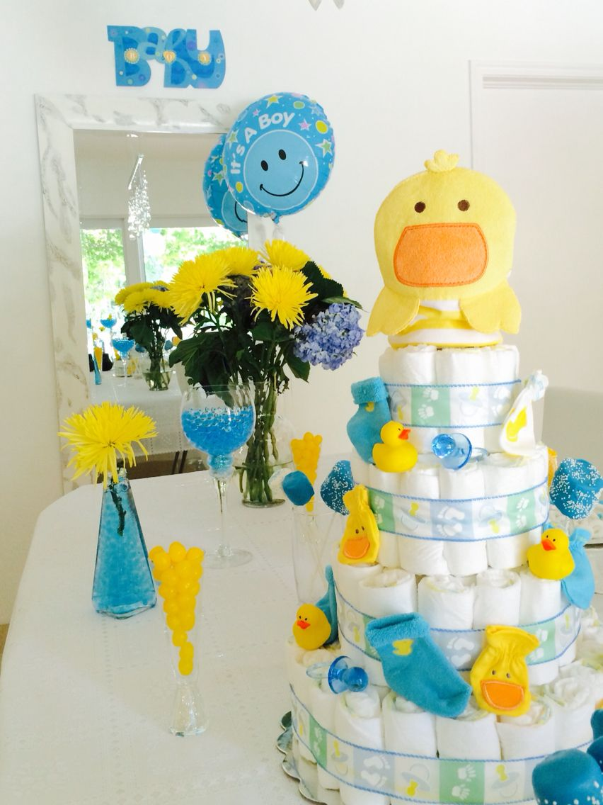baby shower blue and yellow party idea rubber duck baby shower decor
