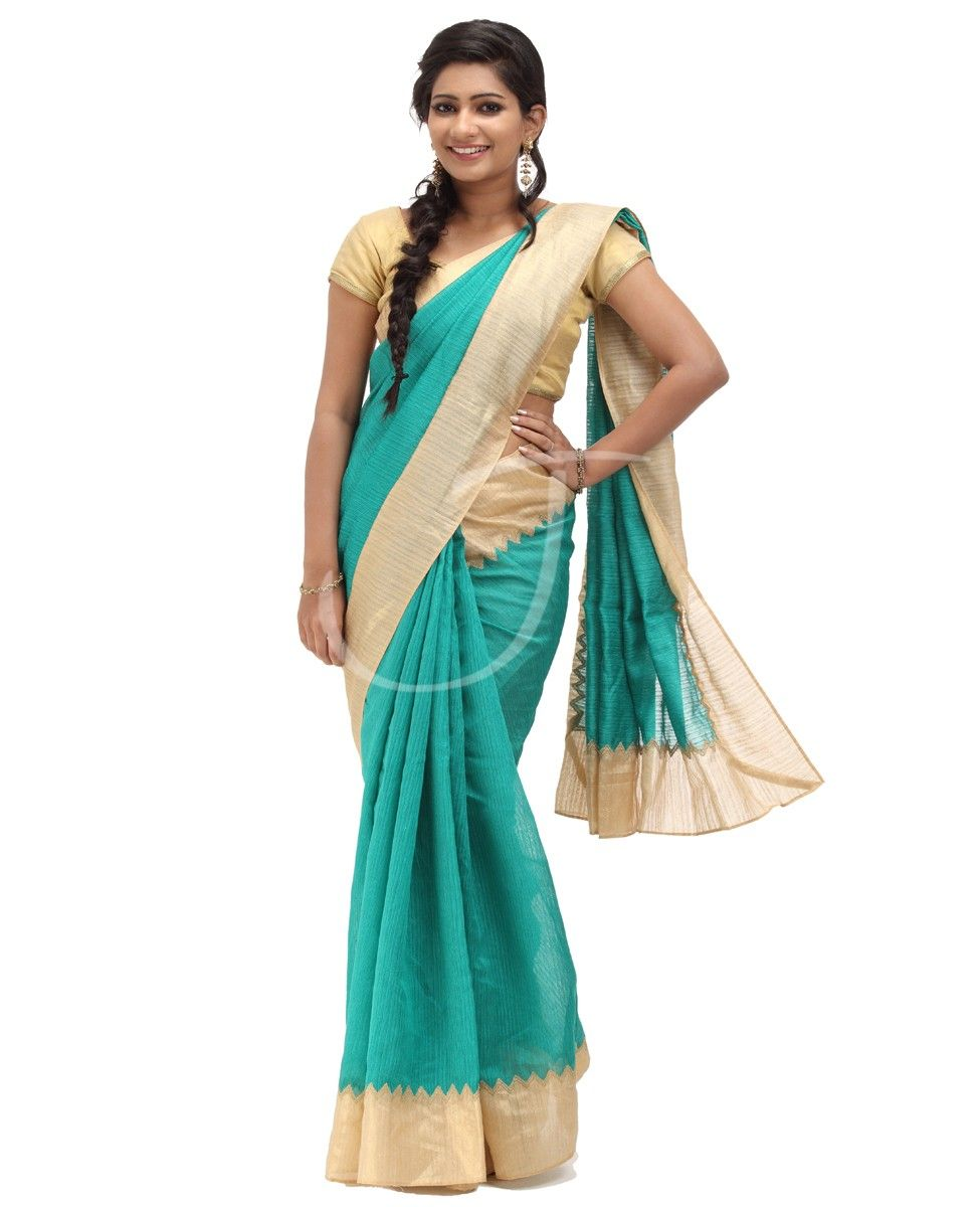 Pin By Ayu Sari On Ruchi Designs: Bhagalpuri Fabric. Body Is Peacock Green Color With Border