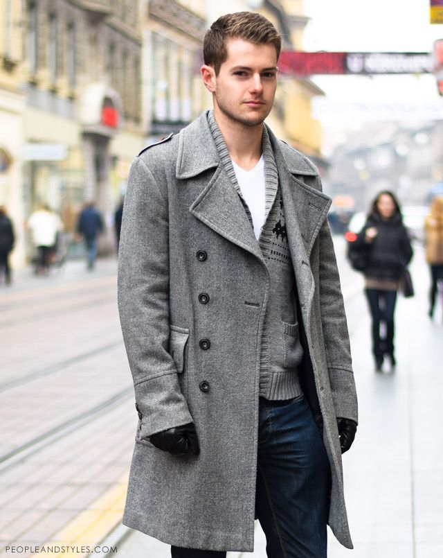 Guys casual winter outfit: grey coat and a wooly cardigan | Street ...