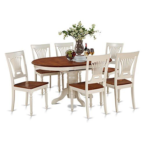 East West Furniture Kepl7 Whi W 7 Piece Dining Table Set Oval Table Dining Small Dining Table Set Dining Table Setting