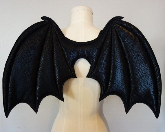 Costume Bat Wings Each set of wings measures approximately 24 wide x 15 long (61cm x 38cm). The wings have elastic loops that fit over the arms ... & Costume Bat Wings costume wings Halloween costume vampire costume ...