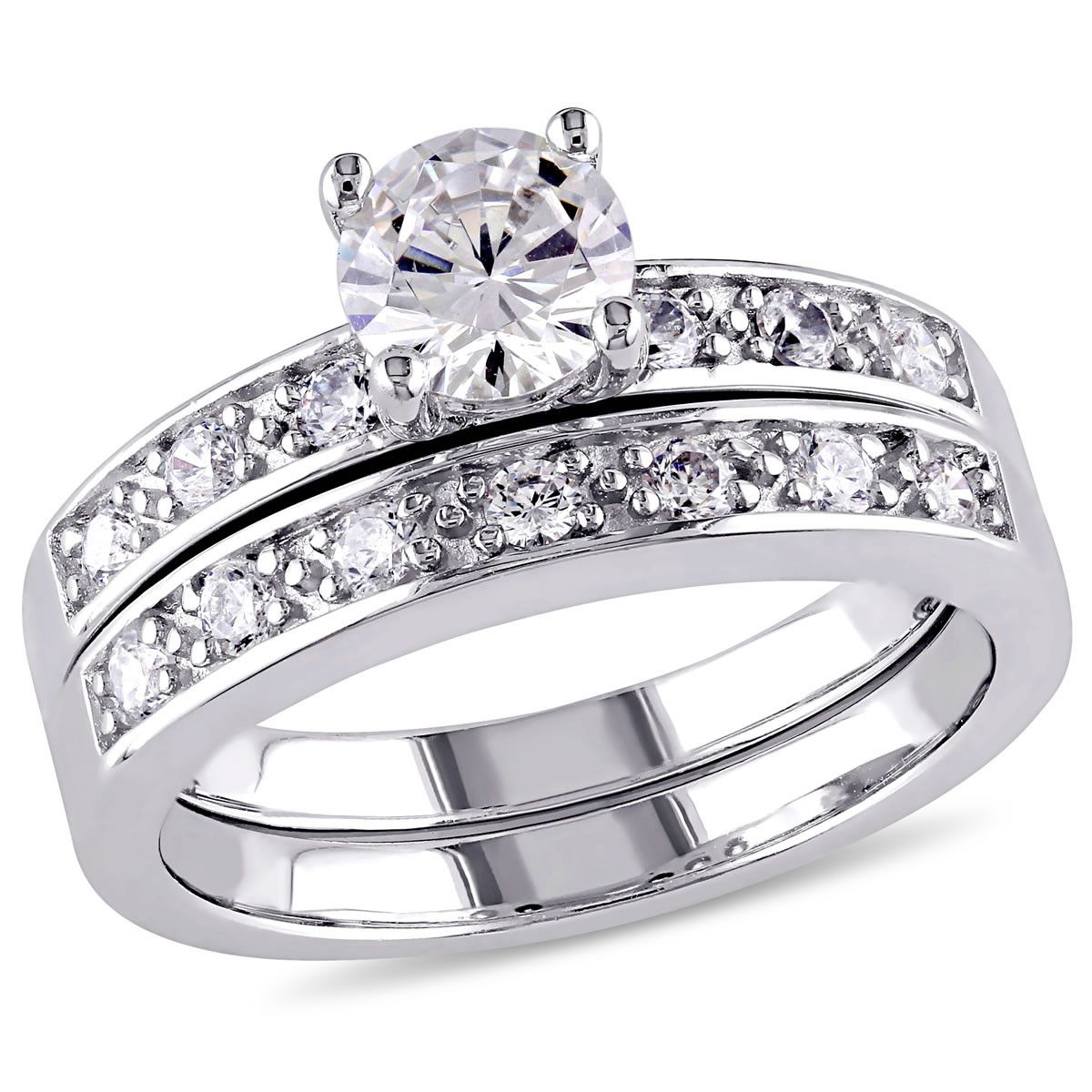 2 1/3 tgw White Cubic Zirconia Bridal Set Ring in Sterling