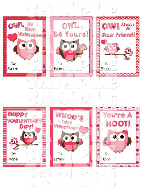 Owl Valentine Cards Printable valentines Valentines Day Cards – Girl Valentine Cards