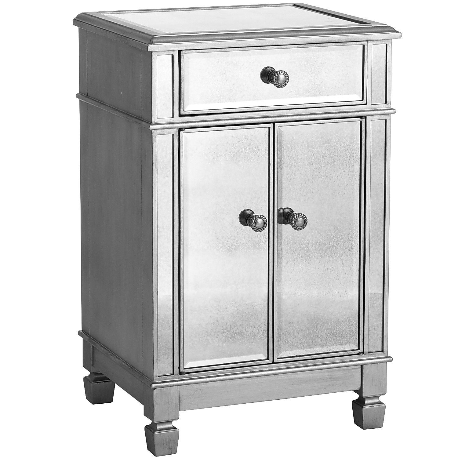 Hayworth Mirrored Silver Bedside Chest Bedside Chest Mirrored