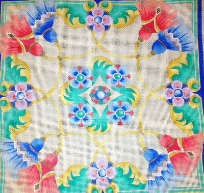 Beautiful Geometric Tassels Jewel Toned *Hand Painted* Needlepoint Canvas