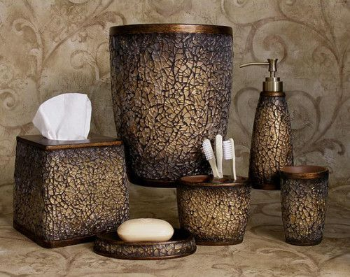 Faux Crackled Glass Mocha Ice Bath Accessories Bathroom Collection