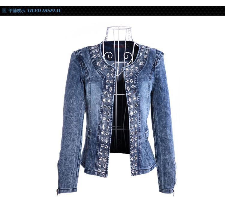 cde3a54b0c mulheres casual jaqueta jeans senhora do vintage jeans jaqueta jeans da  mulher diamante paillette casaco mulheres revestimento da motocicleta em  Jaquetas ...