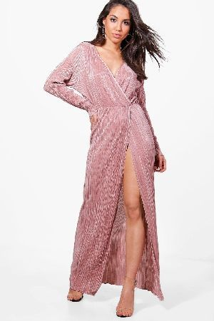 ec0ab0f31fa9 #boohoo Pleated Long Sleeve Wrap Maxi Dress - rose #Vicky Pleated Long  Sleeve Wrap Maxi Dress - rose