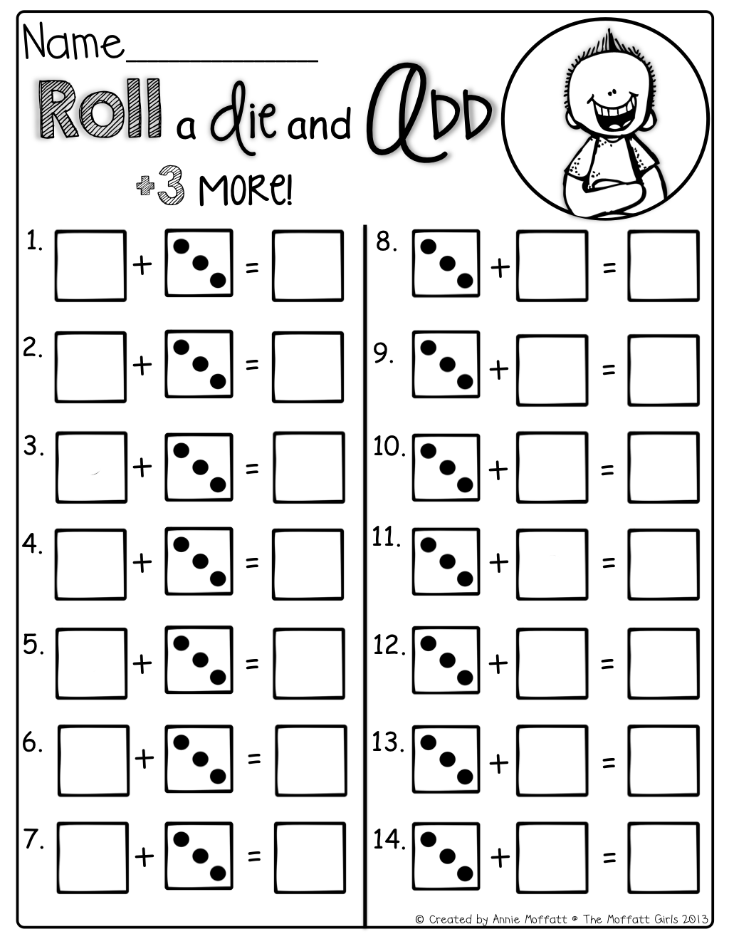 Roll and add 3 more! Tons of interactive math sheets to help make ...
