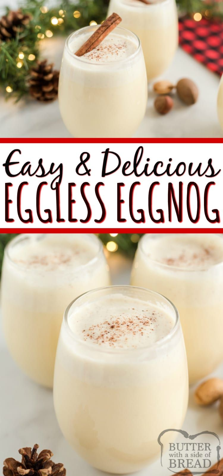 Easy Eggless Eggnog recipe can be made quickly in a ...