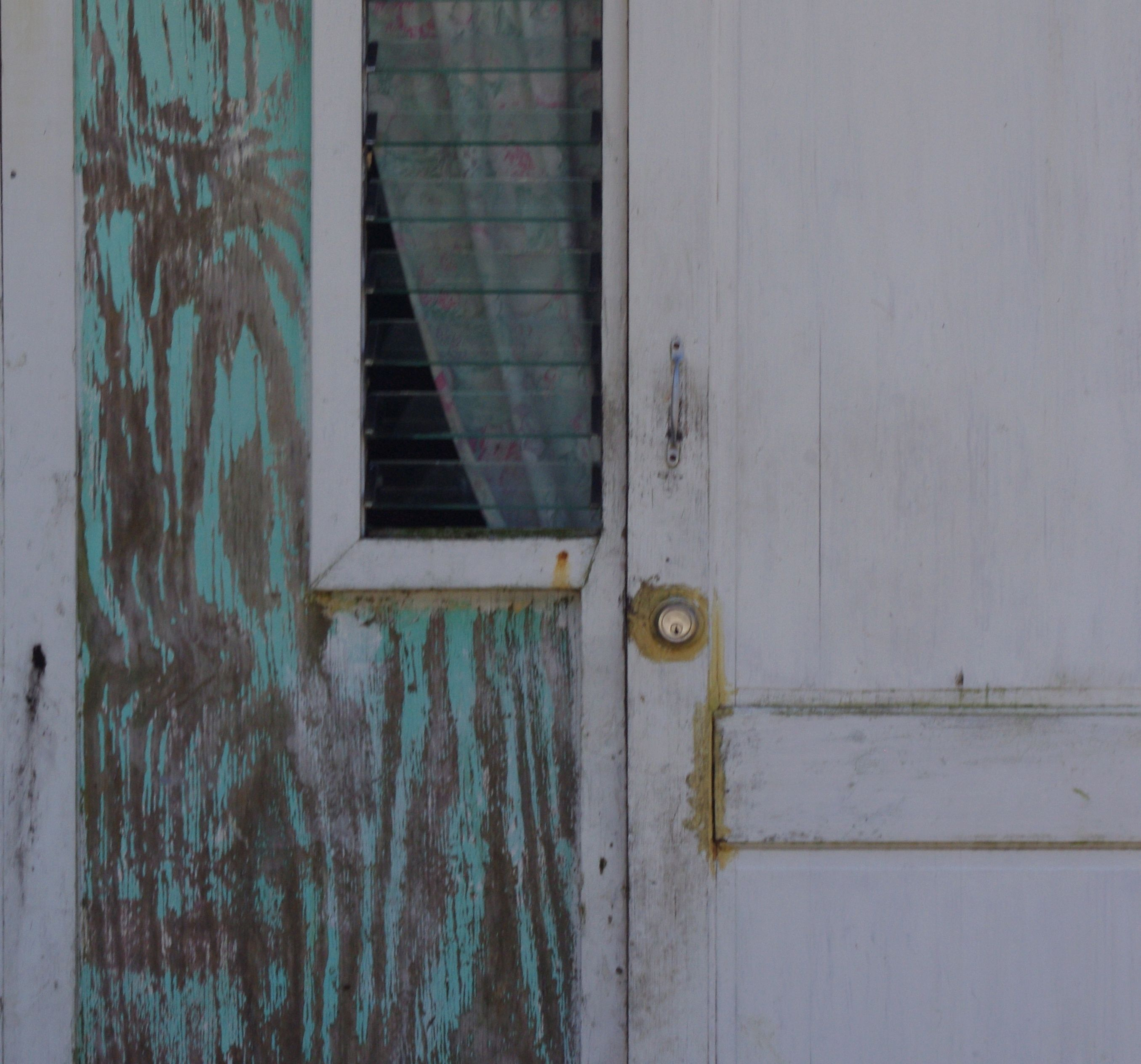 thisbe nissen, aqua-painted plywood, gold door lock, parted curtain, barbados, 2013