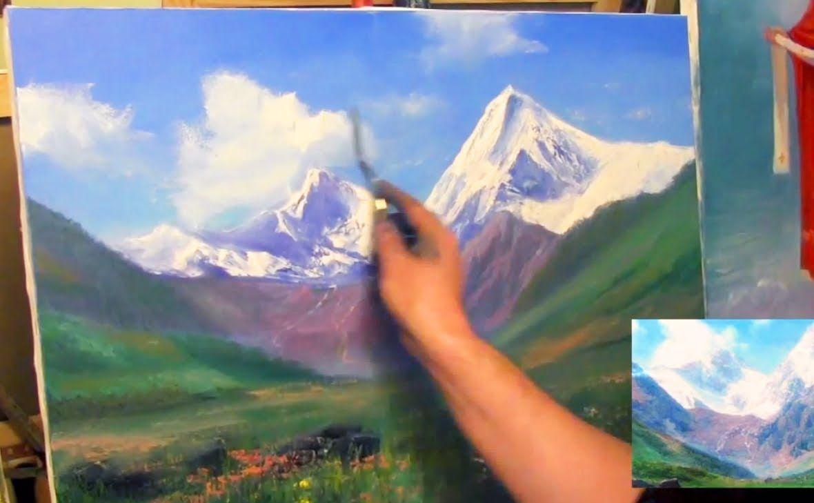 Рисуем горы мастихином