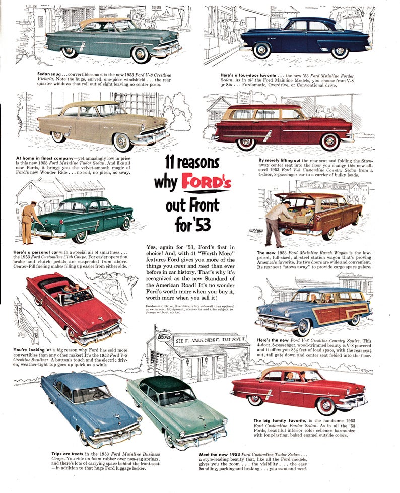 1953 Ford 11 Models Pictured Features Wagons Original 13 5 Etsy Ford Model Pictures Wagons