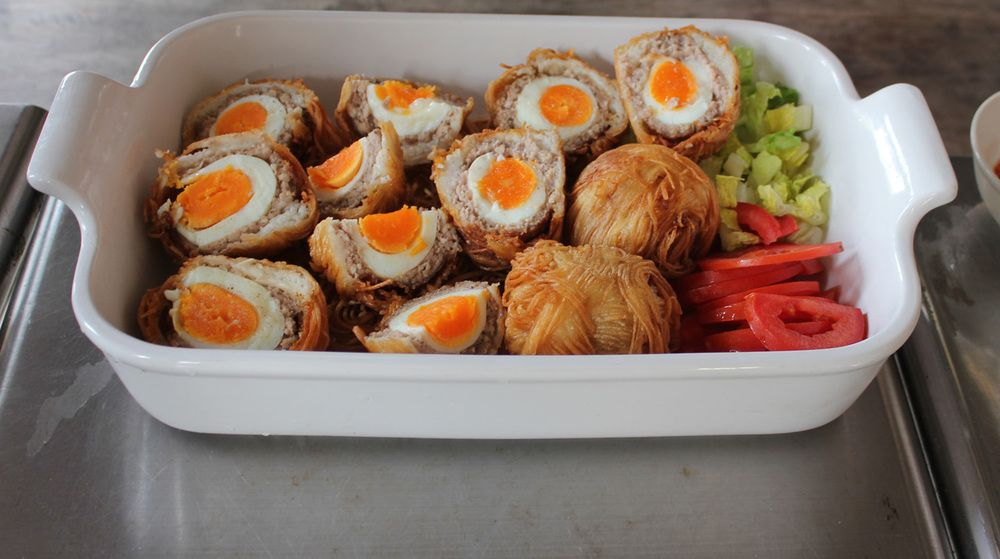 Scotch Eggs, Taiwanese style with noodles on the outside