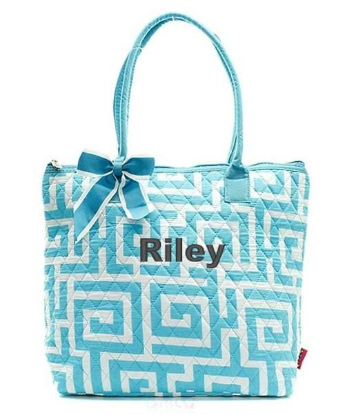 "Personalized Greek Key Aqua Blue White 16"" Quilted Tote Bag - Gifts Happen Here - 1"