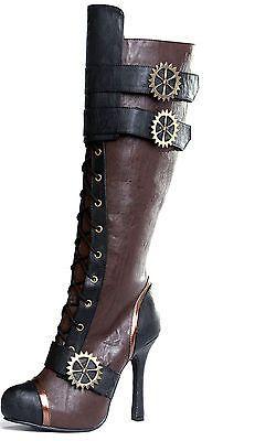 9529dec29cf Womens Knee High Steampunk Pirate Boots Brown   Black Size 6 7 8 9 10 11 12