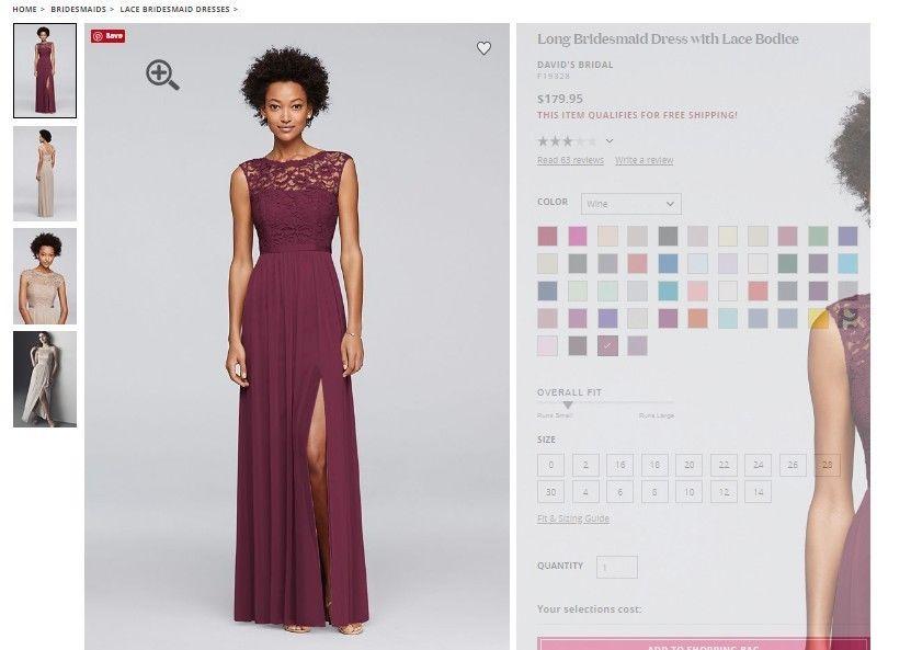 5c3585f7c2c David s Bridal F19328 Long Bridesmaid Dress Lace Size 12 ColorWINE - Brand  New  fashion  clothing  shoes  accessories  weddingformaloccasion ...